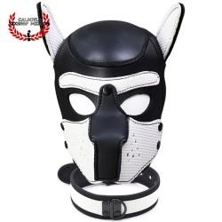 Mascara con collar de Perrito Blanco BDSM para Sometimiento Bondage Juegos de Rol BDSM Mascara Caucho