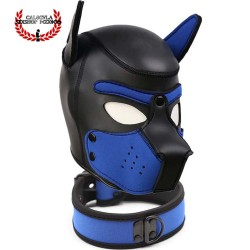 Mascara Azul con collar de Perrito BDSM para Sometimiento Bondage Juegos de Rol BDSM Mascara Caucho
