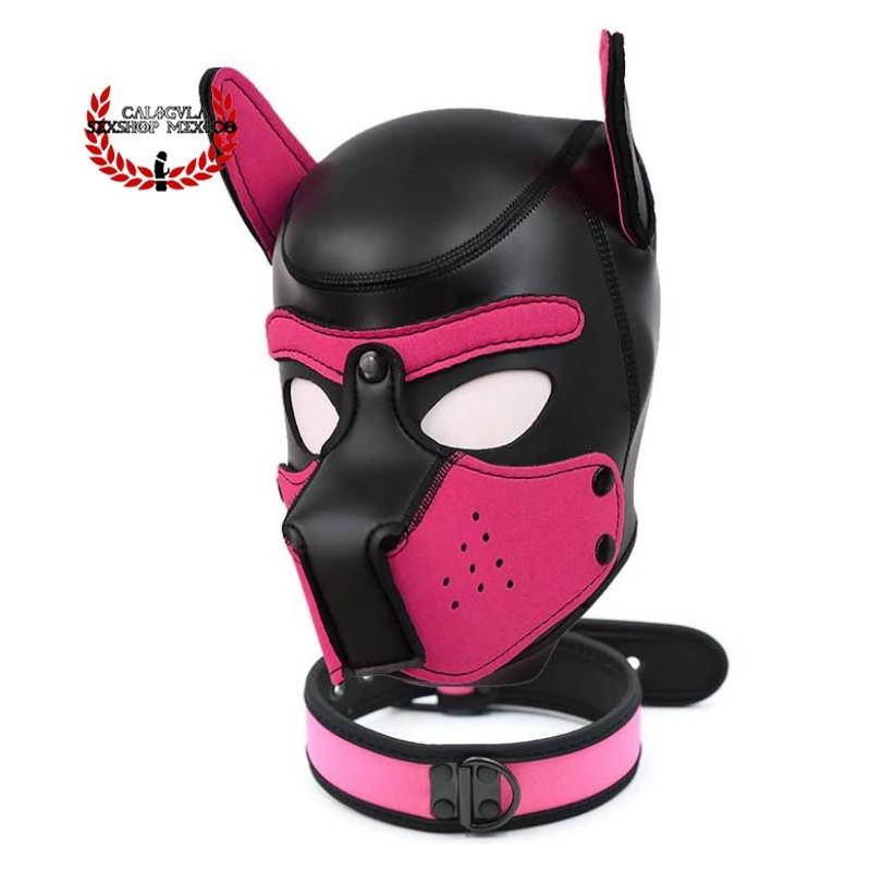 Mascara Rosa con collar de Perrito BDSM para Sometimiento Bondage Juegos de Rol BDSM Mascara Caucho