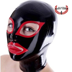 Mascara de Látex negra contorno ojos y boca en Rojo Capucha Mascara BDSM de Látex Unisex Hood