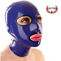 Mascara de Látex Morado contorno ojos y boca en Negro Capucha Mascara BDSM de Látex Unisex Hood