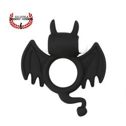 Anillo Diablito Negro Anillo Silicón para pene ultra elástico con vibración para estimular el clítoris