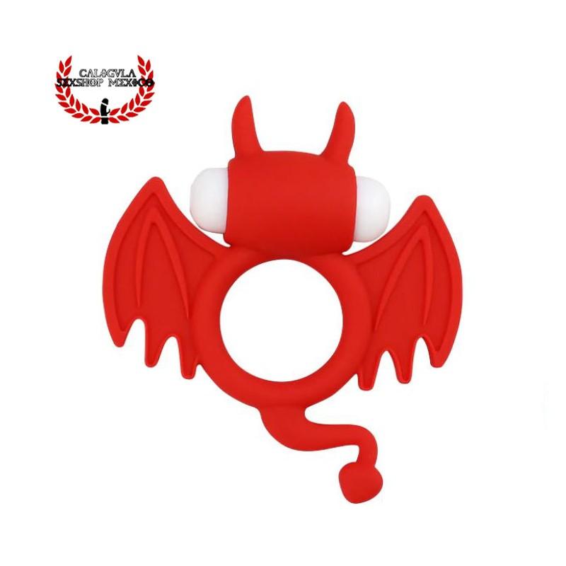 Anillo Diablito Rojo Anillo Silicón para pene ultra elástico con vibración para estimular el clítoris