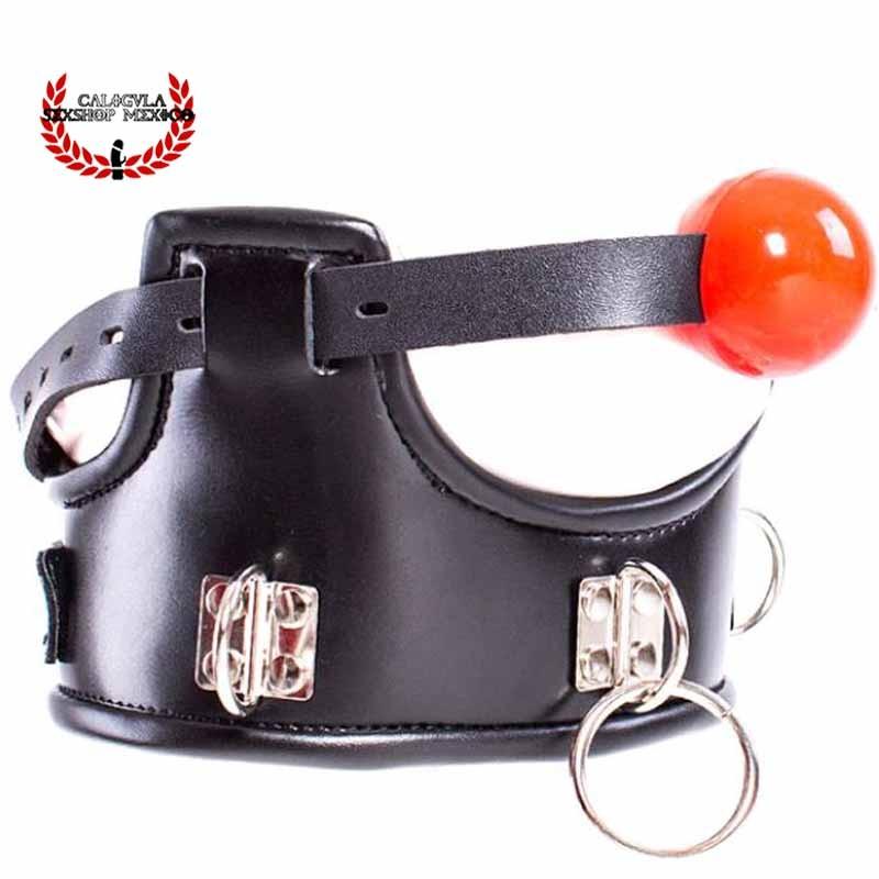 Arnes Collar Con Mordaza en bola Juegos Sexuales BDSM Fetish Collar ajustable con anillos y mordaza