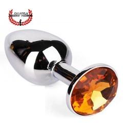 Plug Anal 7 cm de acero Diamante color Naranja Dilatador anal Punto P