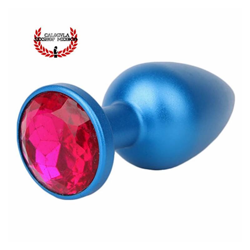 Plug Anal 7 cm Aluminio Azul con base Diamante color Rosa Dilatador anal Punto P